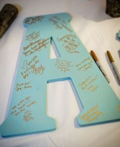 This is for a wedding shower but could work for a baby shower, too. Have guests write their well wishes on large wooden initials. What a fun idea! /// Photo by Gray Photography via Project Wedding Fiesta Shower, Shower Party, Shower Time, Diy Shower, Idee Baby Shower, Baby Boy Shower, Baby Shower Guestbook, Baby Shower Gifts For Guests, Baby Shower Wishes
