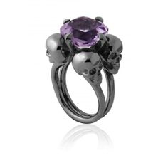 Skull ring with amethyst Milady ring by Gisele Ganne Skull Jewelry, Gothic Jewelry, Jewelry Rings, Jewelry Accessories, Jewellery, Skull Rings, Western Jewelry, Hippie Jewelry, Victorian Jewelry