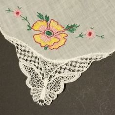 Vintage White Cotton Handkerchief with Yellow and Pink Embroidered Flowers and Butterfly Lace Corner (#2316) by CherishedAgain on Etsy