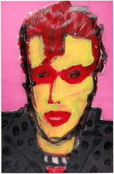 """Skot Foreman Gallery Nick  Vukmanovich """"Portrait VIII"""" 1990s Acrylic and spray paint on paper    37 x 25 in  94 x 63 cm Hand-signed """"N Vukmanovich"""""""
