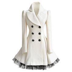 White Ruffled Tulle Coat ($65) ❤ liked on Polyvore featuring outerwear, coats, jackets, tops, tulle coat, white coat and ruffle coat