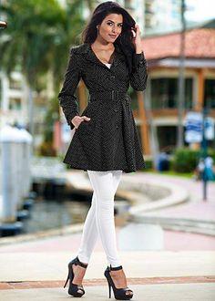 Polka dot rain coat, cami, stretch jegging, peep toe heel from VENUS Venus Clothing, Business Professional Attire, Business Attire, Denim Fashion, Womens Fashion, Work Fashion, Mode Jeans, Embellished Jeans, Raincoats For Women