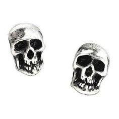 Death Mini Pewter Skull Stud Earrings -by Alchemy England 1977