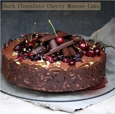 The combination of chocolate and cherries are my favorite dessert. I found this recipe for dark chocolate cherry mousse cake. Gorgeous presentation!