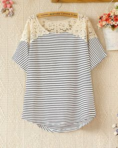 Summer fashion bat sleeve striped T-shirt – Tepayi