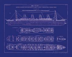 Titanic Blueprint I Giclee Print at AllPosters.com