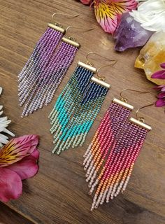 Items similar to Purple Ombre Seed Bead Fringe Earrings >> Lavender, Lilac and Purple Seed Beads in Antique Brass >> Bohemian Beaded Earrings, Boho Style on Etsy Beaded Earrings Patterns, Jewelry Patterns, Beading Patterns, Bracelet Patterns, Easy Patterns, Stitch Patterns, Bead Jewellery, Seed Bead Jewelry, Beaded Jewelry