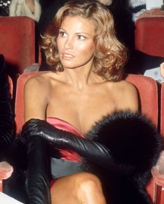 Raquel Welch in long black leather gloves                                                                                                                                                                                 More