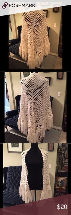 Beautiful Vintage Hand Crocheted Snow White Shaw Beautiful Vintage 60s Hand Crocheted Snow White Shaw. Long with Fringe. A Specialty House Brand. Good Condition. Authentic Original Vintage Style Sweaters Shrugs & Ponchos