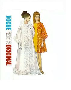 1960s Vogue Paris Original Christian Dior Tent Coat and High Waisted Sleeveless Dress Bust 32 Size 10 Vogue 2016 Vintage Sewing Pattern