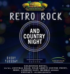 Let's go old school this Tuesday night, as CafeMojo Mumbai brings you a Retro, Rock & Country music night! #PartyinMumbai #Pubs #Party #Beer #Fun #Beers #Enjoy #GoodTimes #OntheBar  #Parties #PartyMusic #DrinkLocal #Music #Dance #Pub #Drinks #EatLocal  #BeerDrinks #Mumbai  #OnthePub.