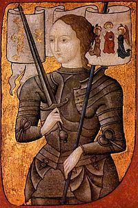 "The patron saint of France, Joan of Arc received ""heavenly visions"" giving her the inspiration to lead the French in revolt against the occupation of the English. An unlikely heroine; at the age of just 17 the diminutive Joan successfully led the French to victory at Orleans. Her later trial and martyrdom on false premises only heightened her mystique."