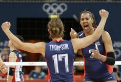 Tayyiba Haneef-Park, Courtney Thompson  USA's Tayyiba Haneef-Park (3) celebrates with teammate Courtney Thompson (17) after winning a set against South Korea during a women's volleyball preliminary match at the 2012 Summer Olympics Saturday, July 28, 2012, in London. (AP Photo/Chris O'Meara)