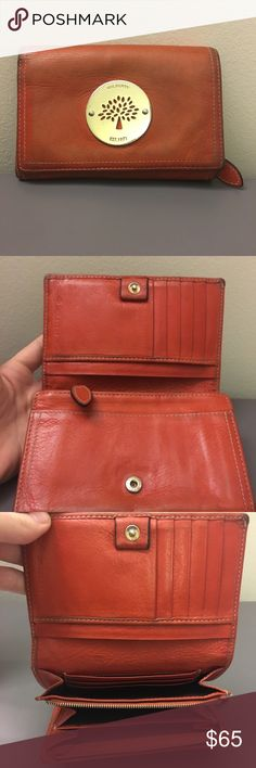 a9907ebf0c Mulberry Wallet Orange Beautiful Mulberry Wallet. Authentic. Has scratches  on metal plate
