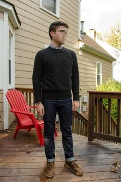 Why not try teaming a charcoal crew-neck sweater with navy jeans? As well as totally functional, both items look amazing when worn together. Our favorite of a variety of ways to complement this ensemble is with brown leather desert boots. Grey Sweater Outfit, Sweater Outfits, Men Sweater, Men's Outfits, Blue Jean Outfits, Grey Long Sleeve Shirt, Boating Outfit, Sweater Layering, Navy Jeans