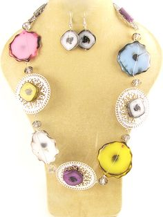 """Silver necklace with multicolor stones and matching fish hook earrings. Lead Compliant. 36""""  $22.95 shipped! We accept PayPal!"""