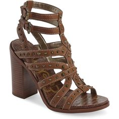 Sam Edelman Saddle Keith Studded Sandals ($70) ❤ liked on Polyvore featuring shoes, sandals, brown, sam edelman sandals, strap sandals, strappy sandals, studded t-strap sandal and brown block heel sandals