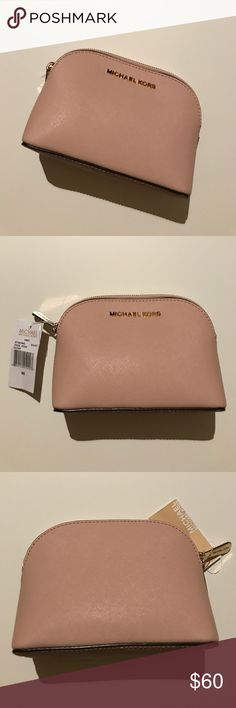 Michael Kors Leather Travel Pouch - Ballet Pink MICHAEL Michael Kors Cindy Small Travel Cosmetic Pouch in Ballet Pink NWT MICHAEL Michael Kors Bags Cosmetic Bags & Cases