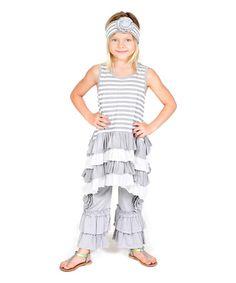 Gray Stripe Infinity Top Set - Infant, Toddler & Girls #zulily #zulilyfinds