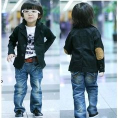BOYS ISSO KIDS TRENDY BLACK JACKET BLAZER - SUEDE ARM PATCHES KOREAN DESIGNER | eBay