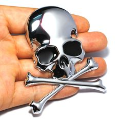 7.2x6CM 3D Metal Skull Skeleton Crossbones Car Motorcycle Sticker Truck Label Emblem Badge Car Styling Decaration Accessories #Affiliate