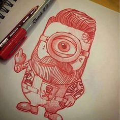 """BEARD ART "" The bearded minion . @elvintattoo great work ⚓️BRAVE DON'T SHAVE…"