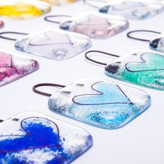 Fused glass love heart hanger - wedding favour, anniversary, birthday, get well