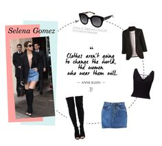 """""""Selena Gomez in Dolce&Gabbana Sunglasses"""" by visiondirect ❤ liked on Polyvore featuring Miss Selfridge and Dolce&Gabbana"""