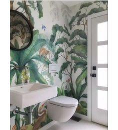 Jungle Wallpaper Mural Bathroom (Wallpaper Lulu and Georgia) Jungle Bathroom, Bathroom Mural, Bathroom Ideas, Bathroom Jungle Wallpaper, Bathroom Vanities, Bathroom Renovations, Mosaic Bathroom, Wall Paper Bathroom, Bathroom Bin