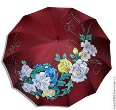 """Купить зонт ручной росписи """"Цветы"""" - бордовый, рисунок, цветы, зонт, ручная роспись зонта"""
