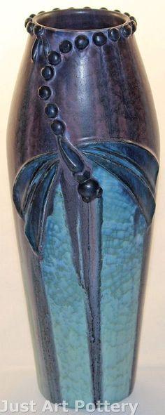 Ephraim Faience Pottery Dragonfly Experimental Vase