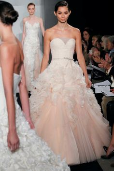 Simple Blush wedding dress Mark Zunino for Kleinfeld I saw this on say yes to