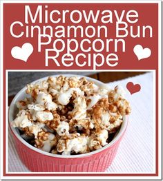 Gourmet Cinnamon Bun Popcorn: 12 c. air popped popcorn (more coverage only 6 c. ); 1 c. pecans, chopped (opt); ½ c. brown sugar; 1 tsp. cinnamon; ½ c. butter; ¼ c. corn syrup; 1 tsp. vanilla; ½ tsp. baking soda; 2 –4 oz. almond bark. Mix brown sugar + cinnamon in a large microwaveable bowl. Add butter + corn syrup. Microwave on high for 30 seconds, stir. Microwave 2 min. Remove, stir Microwave 2 min, remove, whisk in vanilla+baking soda. Will foam. Pour over popcorn