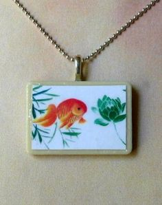 Koi and Lotus Necklace / Goldfish by ideasinc for $16.00