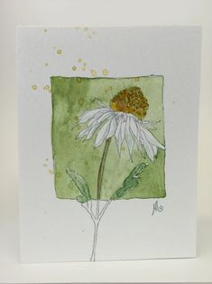 Outline stamped in watercolor then hand painted. Every card is different. A2 original artwork, envelope included.