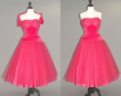 Hey, I found this really awesome Etsy listing at https://www.etsy.com/listing/260860268/1950s-prom-dress-vintage-50s-fuschia