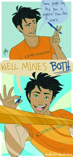 "You tell them how it is, Percy.(other pinner) (me:) WHO'S IDEA WAS IT TO PUT CAMP ""HAFIES"" ON PERCY'S SHIRT!!! 1ITS CAMP HALF BLOOD!!! AND 2 IT'S NOT EVEN SPELLED CORRECTLY!!!"