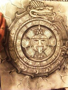 Aztec Calendar Tattoo For Men photo - 1 Lettrage Chicano, Chicano Tattoos, Chicano Drawings, Aztec Warrior Tattoo, Aztec Drawing, Mayan Tattoos, Aztec Symbols, Tattoos Realistic, Aztec Tattoo Designs