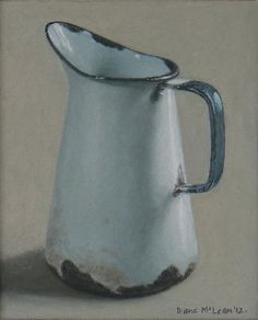 Diane McLean White jug with blue handle oil on board, 224 x 183 mm. Still Life Drawing, Painting Still Life, Still Life Art, Farmhouse Paintings, Vintage Enamelware, Acrylic Art, Art Plastique, Fabric Painting, Art Techniques