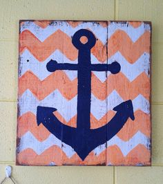 Coral and Navy chevron and anchor sign - Baby room, home decor, or wedding primitive sign on Etsy, $25.00