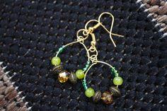Green and Bronze Beaded Mini Hoop Earrings  #Hoop