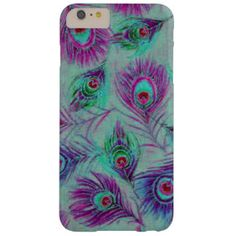 Cute girly purple peacock feathers barely there iPhone 6 plus case