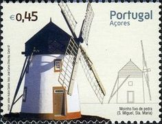 Sello: Windmills (Azores) (Windmills) Mi:PT-AZ 538,WAD:XE008.07,Afi:PT 3553 Portugal, Going Postal, Interesting Buildings, Azores, Le Moulin, Portuguese, Postage Stamps, Wind Mills, Design