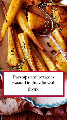 Try our recipe for parsnips and potatoes roasted in duck fat with thyme and other easy winter recipes at Red Online. Roasted Parsnips, Roasted Potatoes, Bbq Potatoes, Roast Dinner, Sunday Roast, Baked Duck Recipes, Slow Roast, Yummy Eats, Winter Food