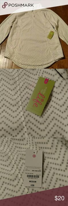 Made for life fleece pullover Off white with gray dot zig zag. Brand new with tags. jcpenney Jackets & Coats