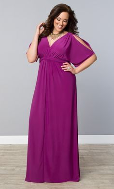 Add a little dramatic, yet simple style to your wardrobe with our plus size Coastal Cold Shoulder Dress.  Kimono-type peek-a-boo sleeves, plunging neckline and flattering maxi silhouette is the perfect combination.  www.kiyonna.com  #KiyonnaPlusYou  #MadeintheUSA