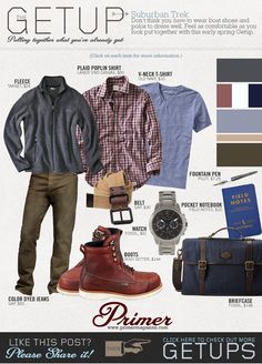 The Getup Suburban Trek Primer is part of Mens outfits - Don't think you have to wear boat shoes and polos to dress well Feel as comfortable as you look put together with this early spring Getup Sharp Dressed Man, Well Dressed Men, Casual Outfits, Men Casual, Fashion Outfits, Fashion Styles, Style Fashion, Mode Style, Style Me