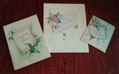 VINTAGE 1940's Wedding Cards LOT OF 3 Floral Bells CONGRATULATIONS Bride Groom