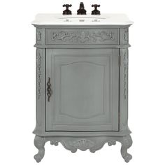 Home Decorators Collection Winslow 26 in. W Vanity in Antique Grey with Marble Vanity Top in White with White Basin