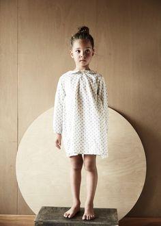 willa dress in sand polka dot